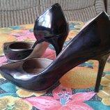 шкіра лак, 37 розмір, кожанные классические туфельки