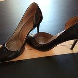 Шикарні туфлі лодочки шкіра лак, 37 розмір, кожанные классические туфельки, лодочки