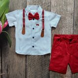 Нарядный костюм для мальчика с шортами, цвет красный. Турция. Размер 1-4 лет
