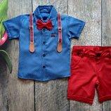 Нарядный костюм для мальчика с шортами, синяя рубашка и красные шорты. Размер 1-4 лет