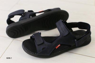 Код 8206-1 Мужские кожаные сандали на липучке сезон лето размеры 40-45 материал натуральная кожа