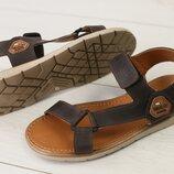 Код 8207 Мужские кожаные сандали на липучке сезон лето размеры 40-45