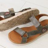 Код 8207-1 Мужские кожаные сандали на липучке сезон лето размеры 40-45