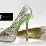 Кожаные Туфли Ив Сен Лоран, светлое золото. золотистые, золотые