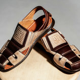 Мужские кожаные сандалии Bumer Beige-Brown