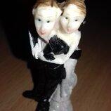 Статуэтка керамическая свадебная, высота 7,5 см ,