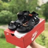 Мужские кожаные сандалии Nike, черные, синие