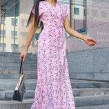 Длинное ровное платье запах на лето 1165