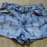 Джинсовые шорты в ананасы Zara на 10-12 лет