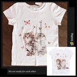 Футболка/ футболочка h&m из хлопка с милыми котятами 110-128см