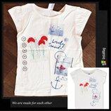 Футболка c&a/футболочка/майка из мягкого хлопка на девочку/морская аппликация/ 122см