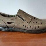 Мужские летние туфли бежевые