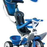 Детский металлический велосипед Smoby с козырьком, багажником и сумкой Синий 741102
