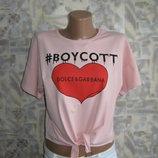 Модная и крутая футболка-топ с завязкой внизу, размер one size