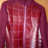 Кожаная комбинированная куртка женская