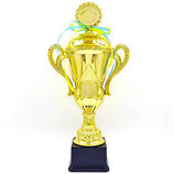 Кубок спортивный с ручками, крышкой и местом под жетон Luck YK082C металл пластик, высота 37,5см