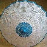 Вязаный зонт. Вязаный ажурный китайский зонтик, ручная работа.