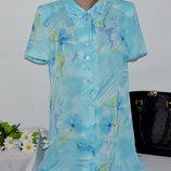 Брендовая голубая удлиненная блуза на пуговицах jacques vert принт цветы