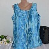 Брендовая голубая блуза топ без рукавов classics принт абстракция большой размер этикетка