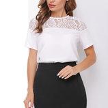 46-52 Белая блуза с кружевом. Жіноча блузка. женская блуза. летняя блузка. с коротким рукавом