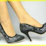 Элегантные черные туфли -шикарный дизайн SERGIO TODZI Черные И Эйвори