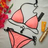Красивенный яркий неоновый купальник на завязках H&M.