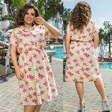 Платье Ткань лен Цвет цветочный принт Длина платья 105см. длина рукава 20 см