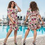 Платье Ткань софт Цвет цветочный принт Длина платья 105см. Длина рукава 32см.