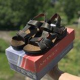 Мужские кожаные сандалии Antec черные, коричневые