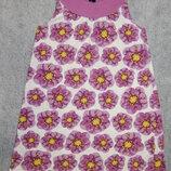 Цветастый сиренево-белый трикотажный сарафан H&M. На девочку 6-8 лет. Рост 122-128 см.
