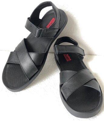 Шок Levis летние кожаные сандалии мужские босоножки в стиле Левис черные