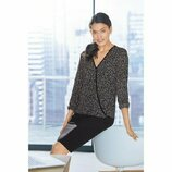 Лёгкая блуза на запах р. 36 38 евро Esmara Германия черная пятнистая
