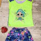 Комплект для девочки футболка шорты , р.98, 110, 122