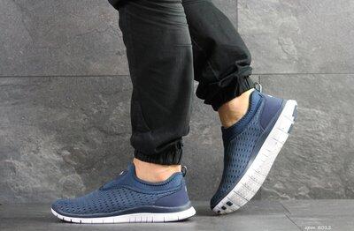 Nike Free Run 3.0 кроссовки мужские демисезонные синие с белым 8012