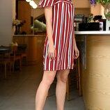 Платье с открытыми плечами турецкий супер софт принт полоска красный хаки