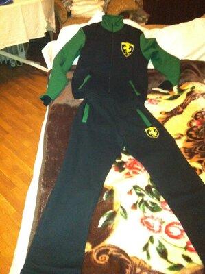 Спортивный костюм мужской черно-зеленый ferrari