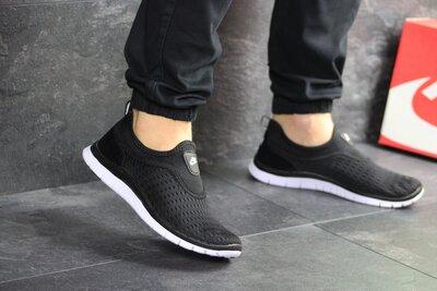 Кроссовки мужские Nike Free Run 3.0 черные с белым