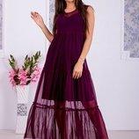 Фатинрвое платье двойка платье майка фатиновая накидка размеры 40-52