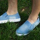 Мужские мокасины топсайдеры низкие джинсовые синие