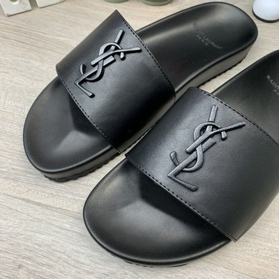 Шлепанцы Ysl Jimmy Sandals In Leather Black