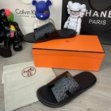 Шлепанцы Hermes Izmir Sandals Leather Ostrich Black