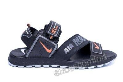 Сандалии мужские кожаные Nike Time Tested реплика черные с серым