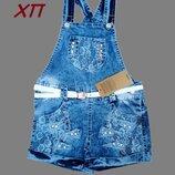 Стильный летний джинсовый комбинезон, украшен стразами для девочки Турция р. 116, 122 на 6, 7 лет