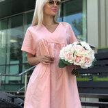 Коттоновое свободное платье легкое летнее платье