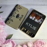 Набор кистей для макияжа kylie 12 штук в металлической коробочке