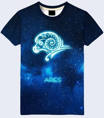 Мужская футболка 3D Aries Овен Все знаки