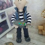 Портретная текстильная кукла моряк, рыбак или турист