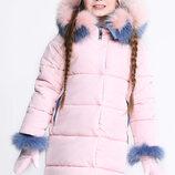 Детская зимняя куртка для девочек бренда X-Woyz 8269 с пристежными рукавичками Размеры 122- 158