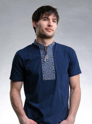 Вышиванка футболка мужская, Вишиванка , трикотажна, синя, р-р 42-56
