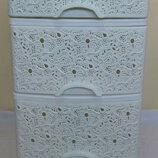 Комод пластиковый белый на 4 ящика